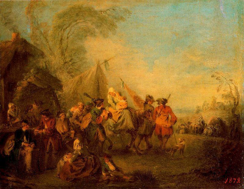 Soldiers Setting out from the Étape by Jean-Baptiste Pater (1695-1736, France) | Art Reproduction | WahooArt.com