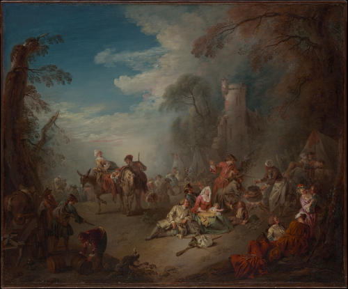 Troops at Rest by Jean-Baptiste Pater (1695-1736, France) | Reproductions Jean-Baptiste Pater | WahooArt.com