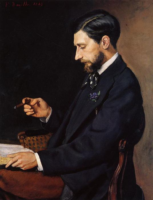 Portrait of Edmond Maitre, Oil On Canvas by Jean Frederic Bazille (1841-1870, France)