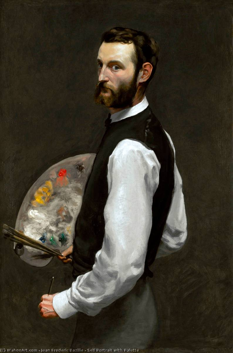 Self Portrait with Palette, Oil On Canvas by Jean Frederic Bazille (1841-1870, France)