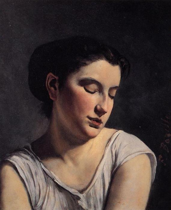 Young Woman with Lowered Eyes by Jean Frederic Bazille (1841-1870, France)
