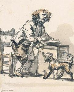 Jean-Baptiste Greuze - A boy standing at a table feeding a dog with a spoon