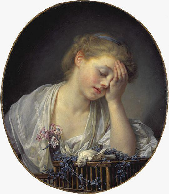 A Girl with a Dead Canary by Jean-Baptiste Greuze (1725-1805, France) | Museum Quality Copies Jean-Baptiste Greuze | WahooArt.com