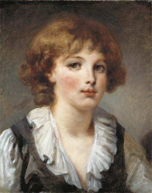 A young boy, bust-length, in a white chemise and black waistcoat by Jean-Baptiste Greuze (1725-1805, France) | Museum Quality Copies Jean-Baptiste Greuze | WahooArt.com