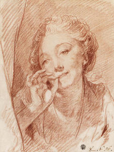 Jean-Baptiste Greuze - A young woman appearing behind a curtain, her hand at her mouth