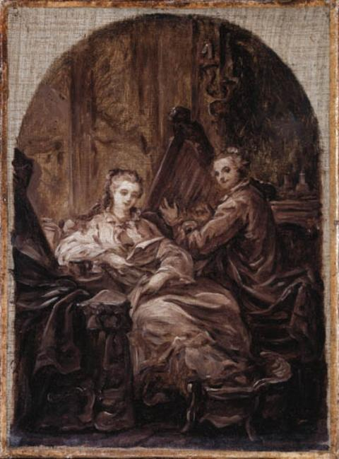 An interior with a man playing a harp and a woman reading beside him by Jean-Baptiste Greuze (1725-1805, France) | Museum Art Reproductions Jean-Baptiste Greuze | WahooArt.com