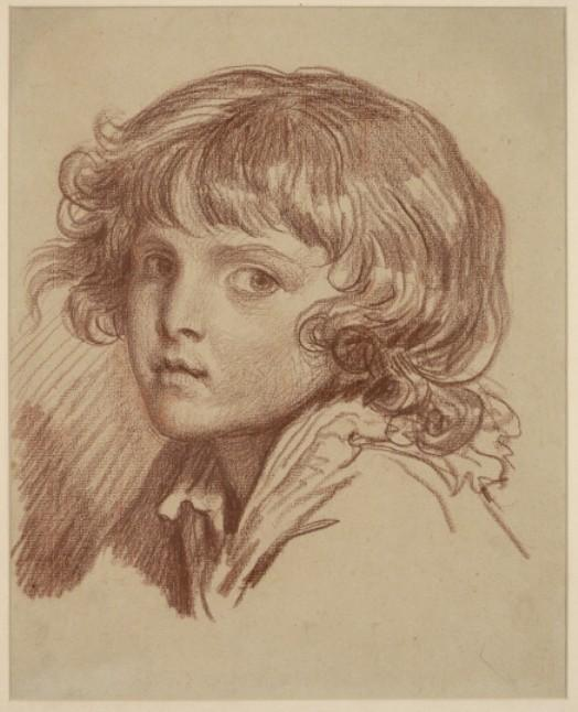 Child`s head with curly hair to the left by Jean-Baptiste Greuze (1725-1805, France) | Museum Art Reproductions Jean-Baptiste Greuze | WahooArt.com
