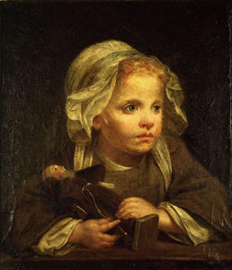 Jean-Baptiste Greuze - Girl with a capuchin