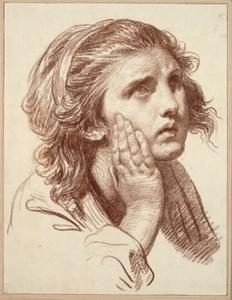 Jean-Baptiste Greuze - Head of a girl with a desperate glance