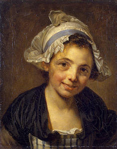 Jean-Baptiste Greuze - Head of a Young Girl in a Bonnet