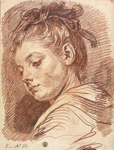 Jean-Baptiste Greuze - Head of a Young Woman