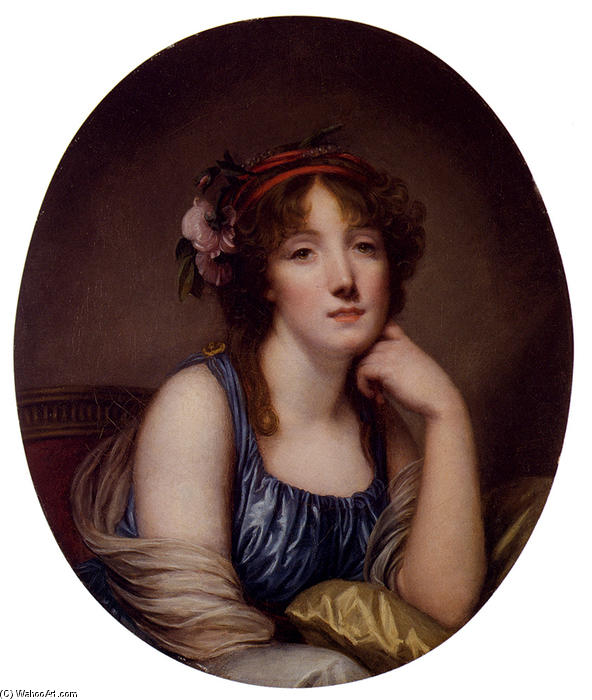 Portrait Of A Young Woman, Said To Be The Artist`s Daughter by Jean-Baptiste Greuze (1725-1805, France) | Art Reproductions Jean-Baptiste Greuze | WahooArt.com