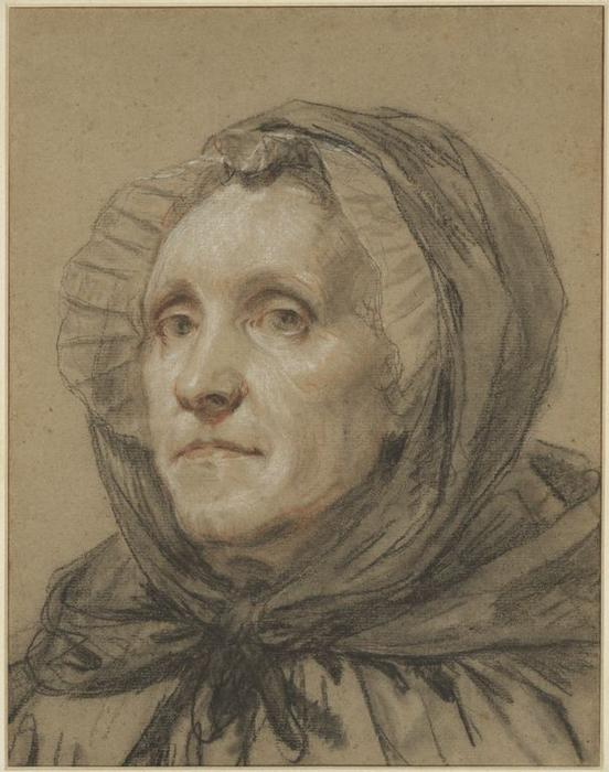 Portrait of the Artist`s Mother by Jean-Baptiste Greuze (1725-1805, France) | Paintings Reproductions Jean-Baptiste Greuze | WahooArt.com