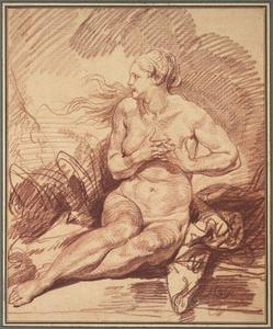 Jean-Baptiste Greuze - Seated Female Nude
