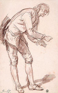 Jean-Baptiste Greuze - Study for 'The Paralytic'. Figure of a Young Man Leaning Forward