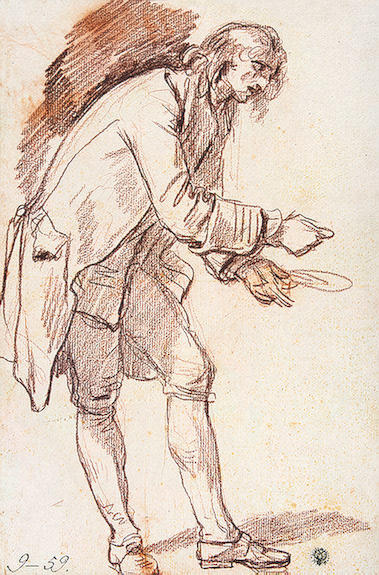 Study for `The Paralytic`. Figure of a Young Man with a Plate in his Hand by Jean-Baptiste Greuze (1725-1805, France) | Art Reproductions Jean-Baptiste Greuze | WahooArt.com
