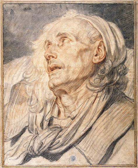 Study for `The Paralytic`. Head of an Old Man by Jean-Baptiste Greuze (1725-1805, France) | Reproductions Jean-Baptiste Greuze | WahooArt.com