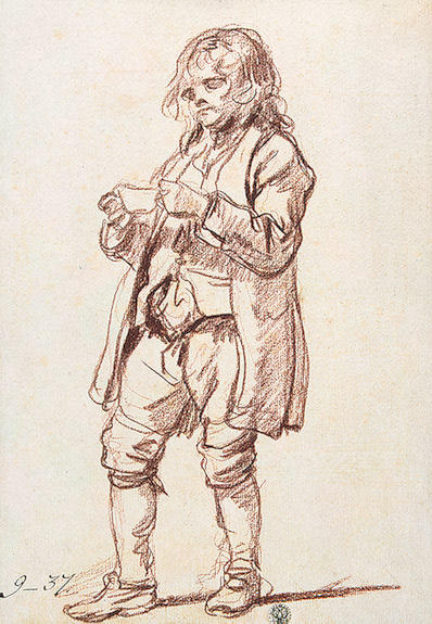 Study for `The Paralytic`. Study of a Boy Carrying a Cup by Jean-Baptiste Greuze (1725-1805, France) | Famous Paintings Reproductions | WahooArt.com