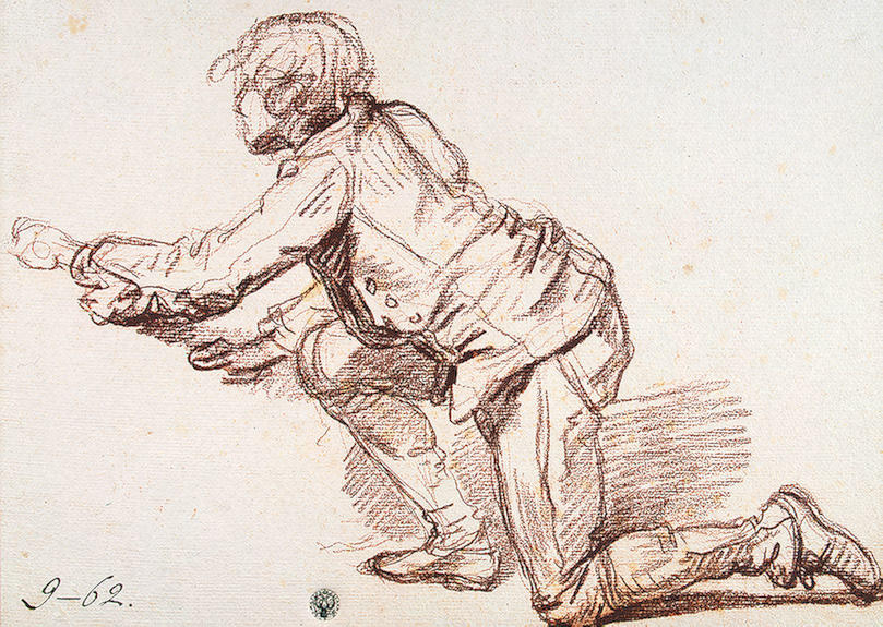 Study for `The Paralytic`. Study of a Boy Resting on One Knee by Jean-Baptiste Greuze (1725-1805, France) | Art Reproductions Jean-Baptiste Greuze | WahooArt.com