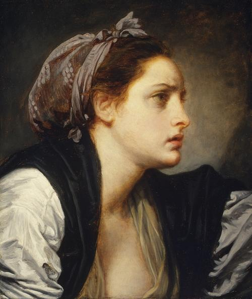 Study Head of a Woman by Jean-Baptiste Greuze (1725-1805, France) | Oil Painting | WahooArt.com