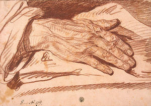Jean-Baptiste Greuze - Study of a Man's Hand with its Palm Down