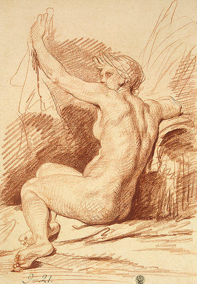 Study of a Nymph by Jean-Baptiste Greuze (1725-1805, France) | Reproductions Jean-Baptiste Greuze | WahooArt.com