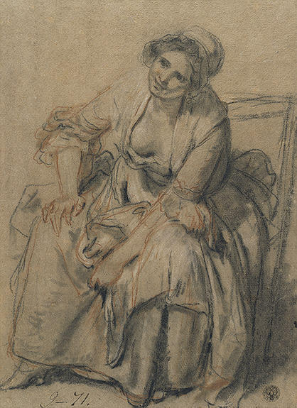 Study of Seated Young Woman by Jean-Baptiste Greuze (1725-1805, France) | Oil Painting | WahooArt.com