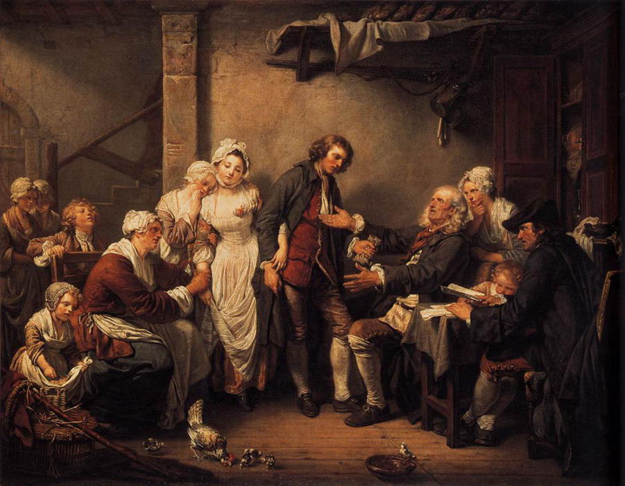 The Marriage Contract by Jean-Baptiste Greuze (1725-1805, France) | Famous Paintings Reproductions | WahooArt.com