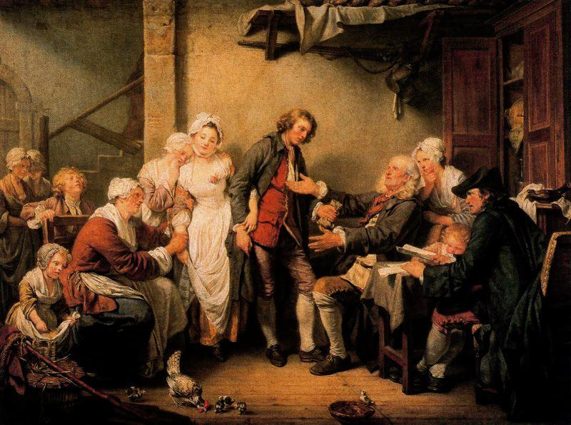 The Village Betrothal by Jean-Baptiste Greuze (1725-1805, France) | Museum Quality Reproductions | WahooArt.com