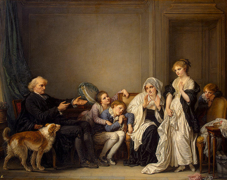 Widow and Her Priest by Jean-Baptiste Greuze (1725-1805, France) | Paintings Reproductions Jean-Baptiste Greuze | WahooArt.com