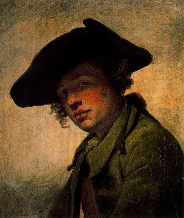 Young man with a hat by Jean-Baptiste Greuze (1725-1805, France) | Oil Painting | WahooArt.com