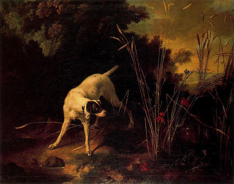 A Dog on a Stand by Jean-Baptiste Oudry (1686-1755, France)