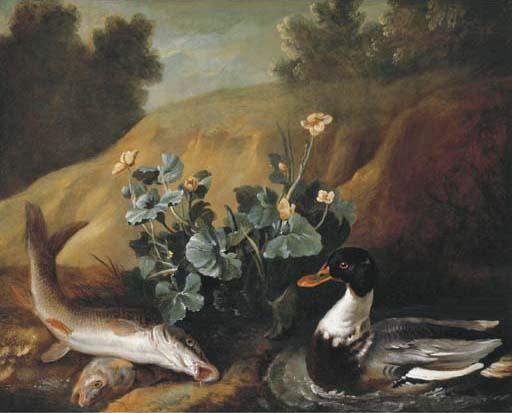 A duck with two barbels at the edge of a pond by Jean-Baptiste Oudry (1686-1755, France) | Museum Quality Reproductions | WahooArt.com