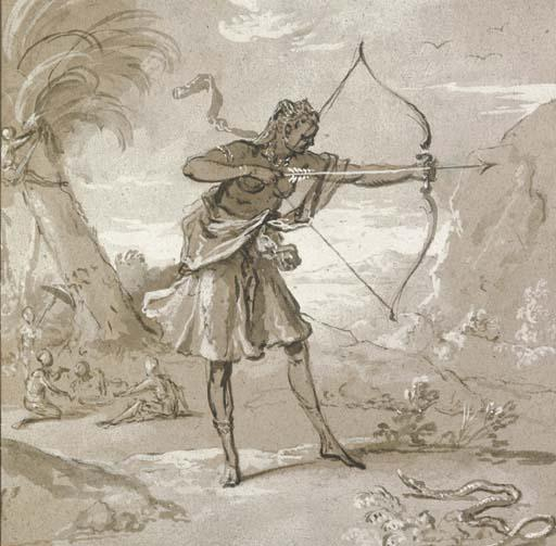 A female archer in a landscape, a snake to the right by Jean-Baptiste Oudry (1686-1755, France)