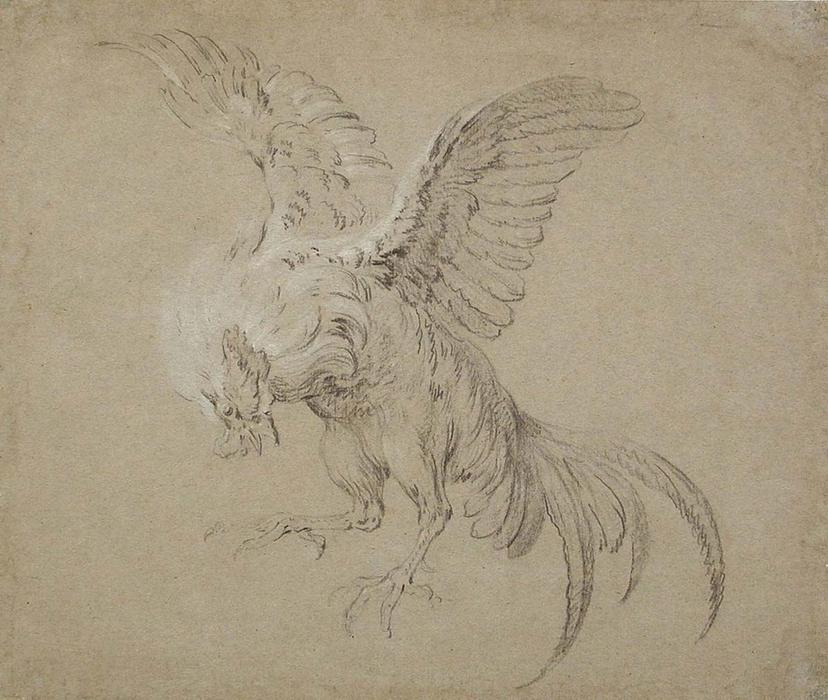 A Fighting Rooster by Jean-Baptiste Oudry (1686-1755, France)
