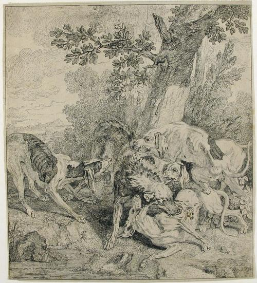 A Pack of Dogs Attacking a Boar by Jean-Baptiste Oudry (1686-1755, France)