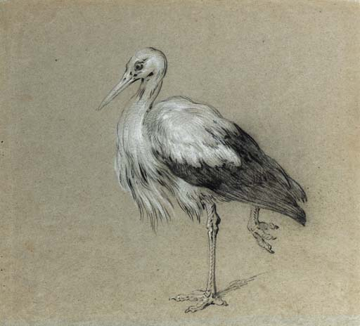A stork standing on one leg by Jean-Baptiste Oudry (1686-1755, France) | Museum Quality Reproductions | WahooArt.com