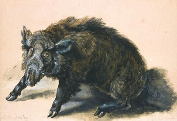 A wild boar at bay by Jean-Baptiste Oudry (1686-1755, France)