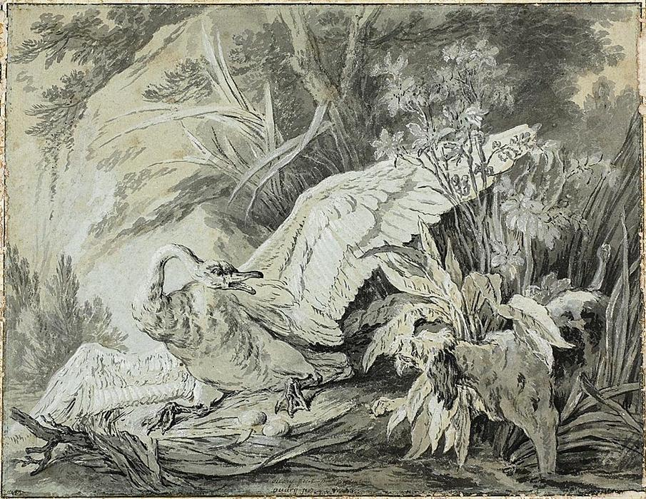 A Wild Swan Attacked by a Dog by Jean-Baptiste Oudry (1686-1755, France) | Painting Copy | WahooArt.com