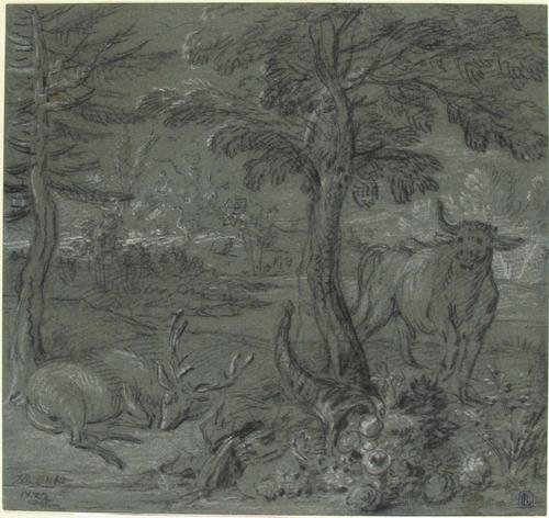 Acheloüs Transformed into a Bull by Jean-Baptiste Oudry (1686-1755, France)