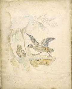 Jean-Baptiste Oudry - Bird Confronting an Owl before a Cave