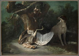 Jean-Baptiste Oudry - Butor and partridges guarded by a white dog