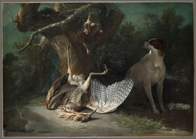 Butor and partridges guarded by a white dog by Jean-Baptiste Oudry (1686-1755, France)