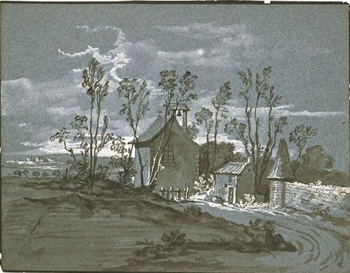 Chapel and houses along a road by Jean-Baptiste Oudry (1686-1755, France) | Art Reproduction | WahooArt.com