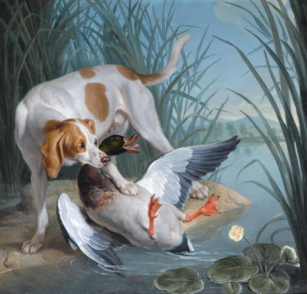 Dog and wild duck by Jean-Baptiste Oudry (1686-1755, France) | Famous Paintings Reproductions | WahooArt.com