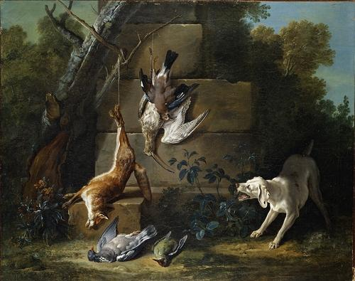 Dog Guarding Dead Game by Jean-Baptiste Oudry (1686-1755, France) | Museum Quality Reproductions | WahooArt.com