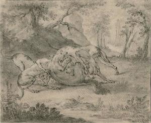 Jean-Baptiste Oudry - Four Dogs and a Wolf