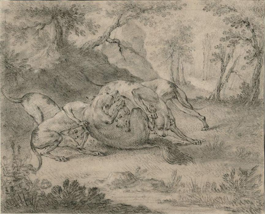 Four Dogs and a Wolf by Jean-Baptiste Oudry (1686-1755, France)