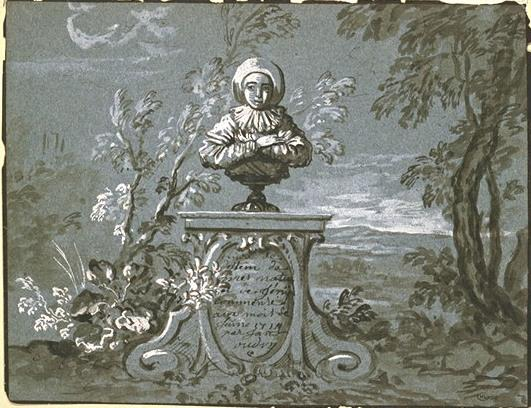 Gilles` bust on a pedestal in a landscape by Jean-Baptiste Oudry (1686-1755, France) | Art Reproduction | WahooArt.com