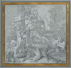 Jean-Baptiste Oudry - Hunting Trophies by a Fountain